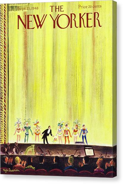 New Yorker Magazine Cover Of A Curtain Call Canvas Print