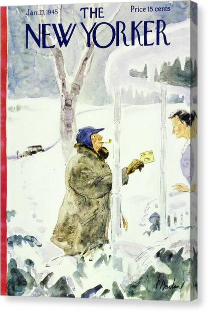 New Yorker Magazine Cover Of A Man Delivering Canvas Print
