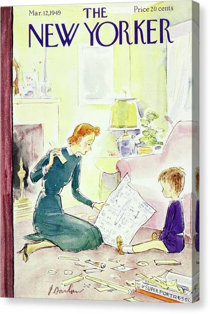 New Yorker Magazine Cover Of A Mother And Son Canvas Print by Perry Barlow