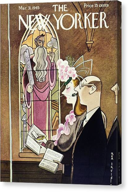 New Yorker Magazine Cover Of A Woman Using Canvas Print by Rea Irvin