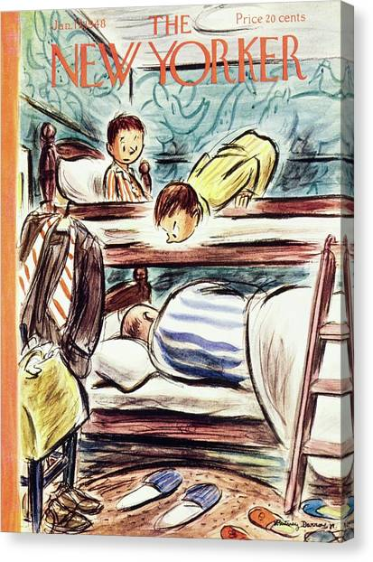 New Yorker Magazine Cover Of Boys Watching Canvas Print by Whitney Darrow