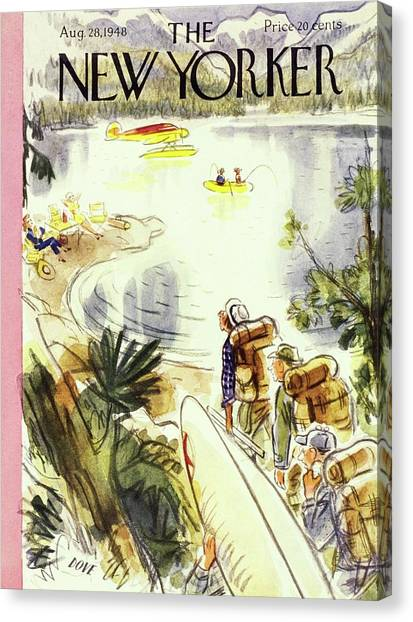 New Yorker Magazine Cover Of Campers Canvas Print by Leonard Dove