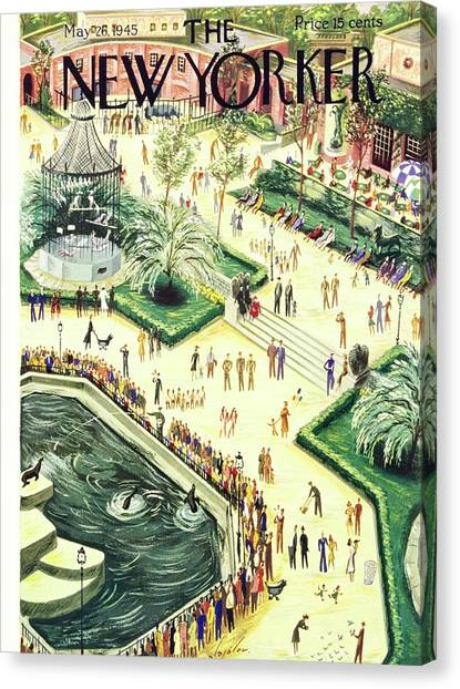 New Yorker Magazine Cover Of Central Park Zoo Canvas Print by Constantin Alajalov