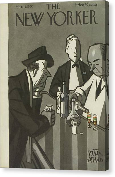 Drunk Canvas Print - New Yorker March 11th, 1950 by Peter Arno