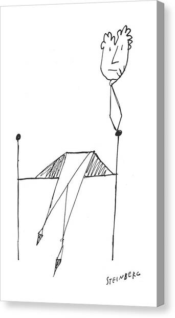 Chin Canvas Print - New Yorker March 23rd, 1957 by Saul Steinberg