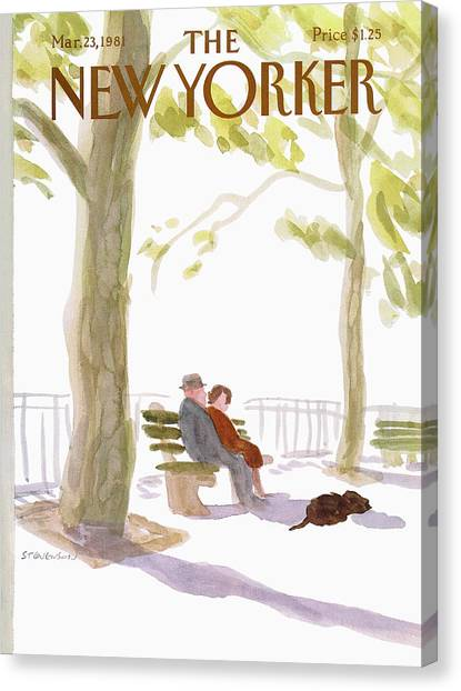 Park Benches Canvas Print - New Yorker March 23rd, 1981 by James Stevenson