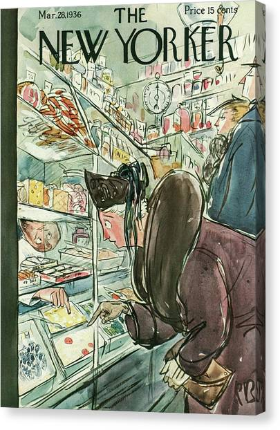 Grocery Store Canvas Print - New Yorker March 28th, 1936 by Perry Barlow