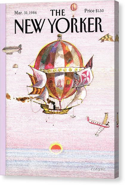 Hot Air Balloons Canvas Print - New Yorker March 31st, 1986 by Andrej Czeczot