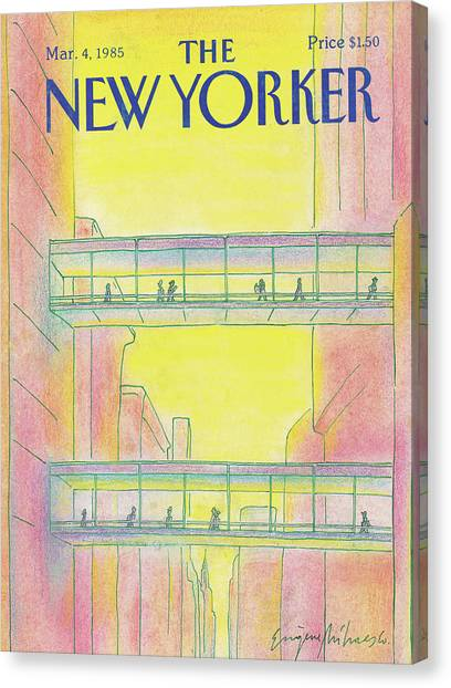 City Sunsets Canvas Print - New Yorker March 4th, 1985 by Eugene Mihaesco