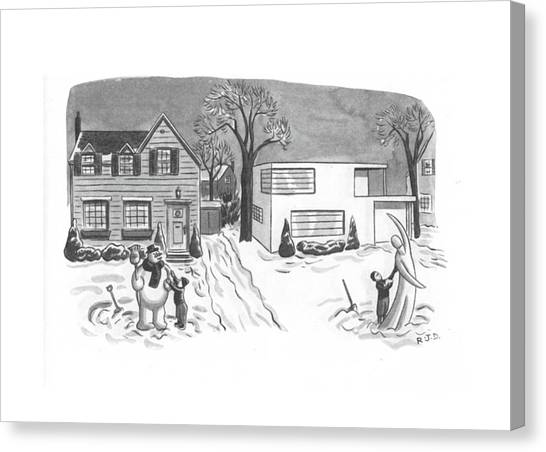 Old Houses Canvas Print - New Yorker March 6th, 1943 by Robert J. Day