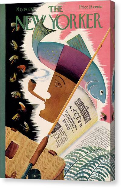 Fishing Poles Canvas Print - New Yorker May 14th, 1932 by Bela Dankovszky