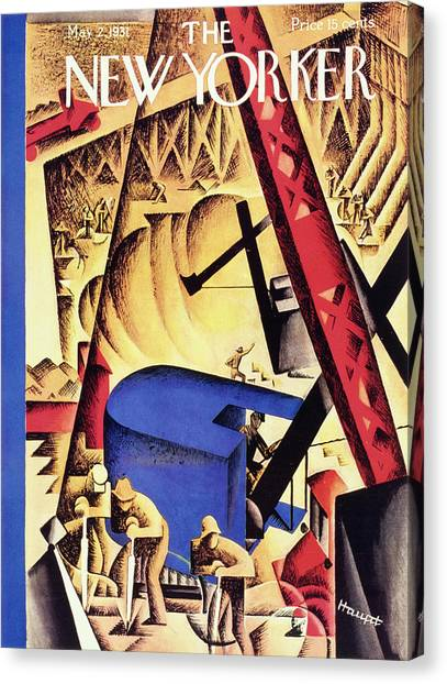 Jackhammers Canvas Print - New Yorker May 2 1931 by I. G. Haupt