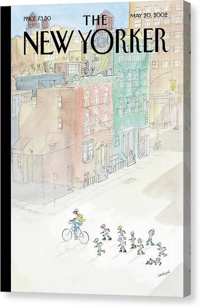 Rollerblading Canvas Print - New Yorker May 20th, 2002 by Jean-Jacques Sempe