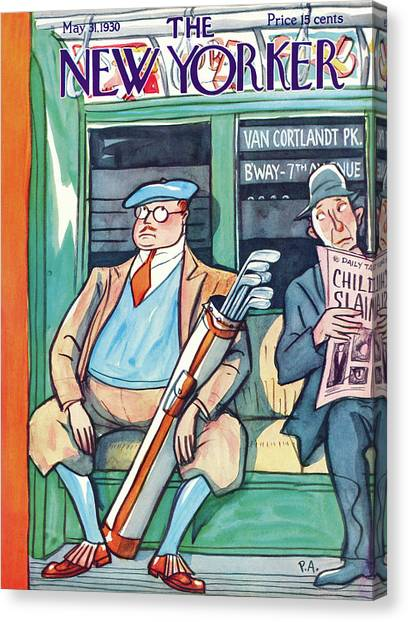 Golfers Canvas Print - New Yorker May 31st, 1930 by Peter Arno