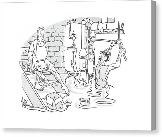 Plumber Canvas Print - New Yorker May 4th, 1940 by George Price