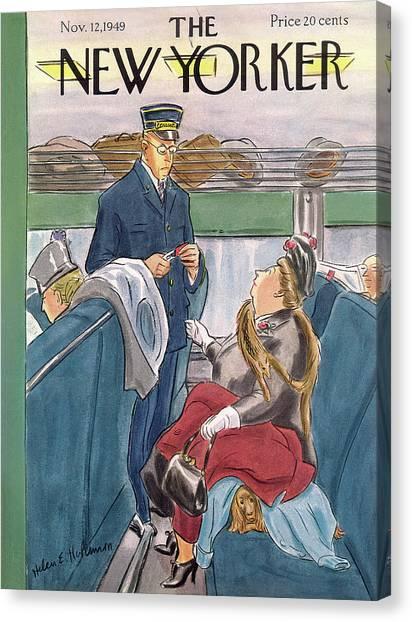 Train Conductor Canvas Print - New Yorker November 12th, 1949 by Helen E. Hokinson