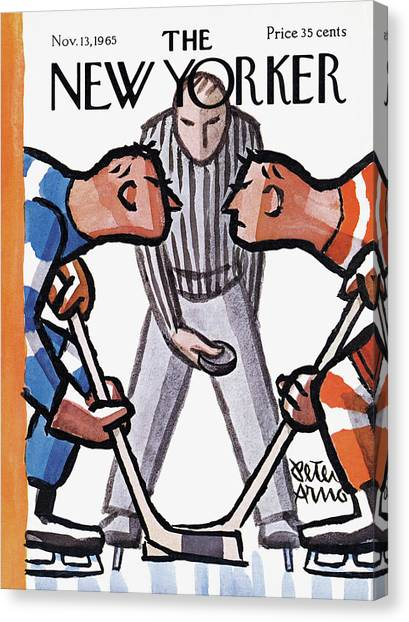 Hockey Players Canvas Print - New Yorker November 13th, 1965 by Peter Arno