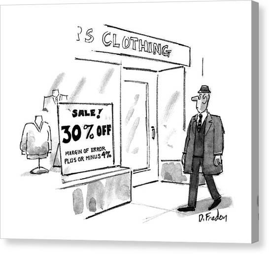 Clothing Store Canvas Print - New Yorker November 16th, 1992 by Dana Fradon
