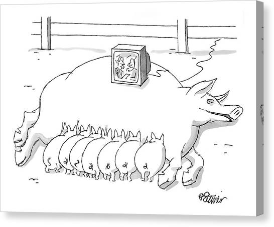 Pig Farms Canvas Print - New Yorker November 22nd, 1999 by Peter Steiner