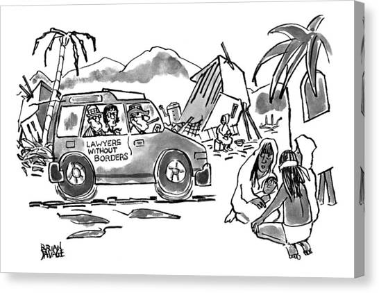Jeep Canvas Print - New Yorker October 20th, 1997 by Brian Savage