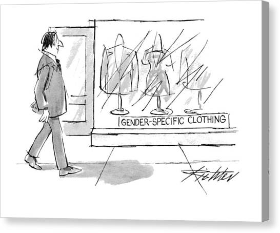 Clothing Store Canvas Print - New Yorker October 25th, 1993 by Mischa Richter