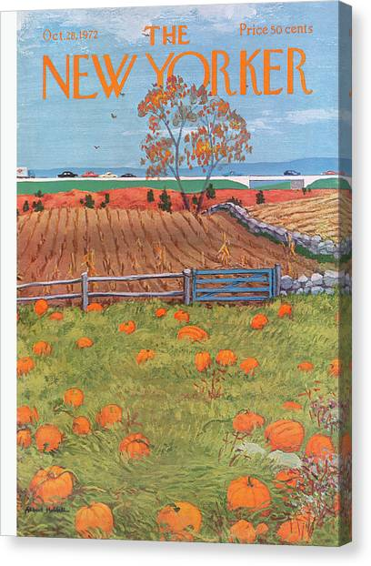 Pumpkin Patch Canvas Print - New Yorker October 28th, 1972 by Albert Hubbell