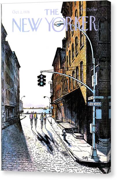 Streetlights Canvas Print - New Yorker October 2nd, 1978 by Arthur Getz