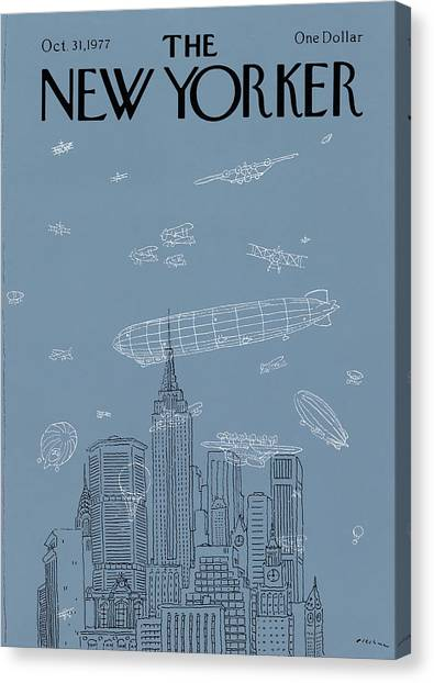 Blimps Canvas Print - New Yorker October 31st, 1977 by R.O. Blechman
