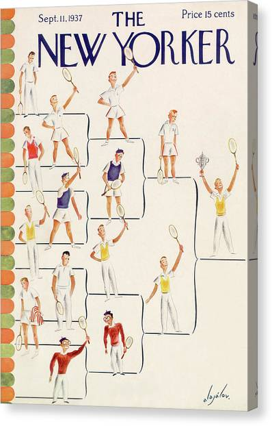 Tennis Canvas Print - New Yorker September 11th, 1937 by Constantin Alajalov