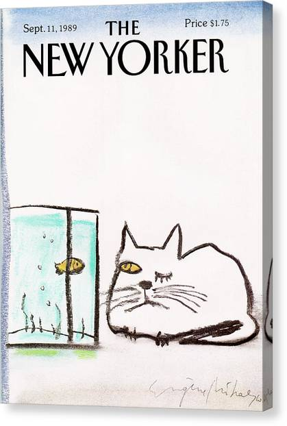 Fish Tanks Canvas Print - New Yorker September 11th, 1989 by Eugene Mihaesco