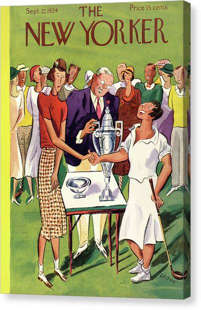Golfers Canvas Print - New Yorker September 22nd, 1934 by Harry Brown