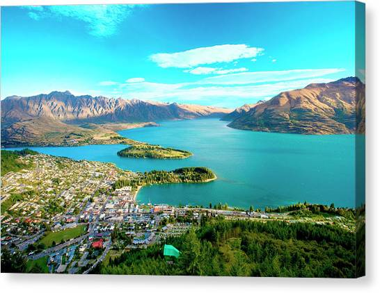 Aerial Canvas Print - New Zealand, South Island, View Towards by Miva Stock