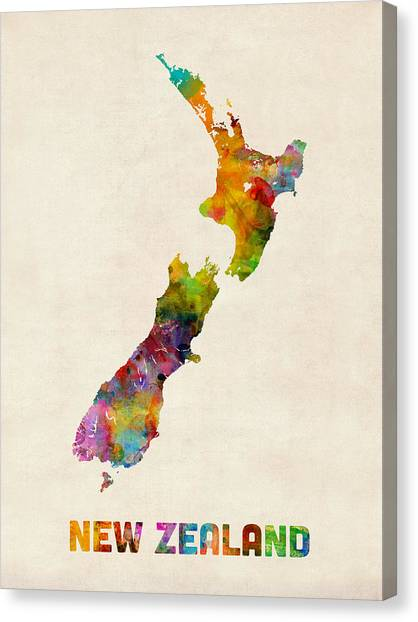 Kiwis Canvas Print - New Zealand Watercolor Map by Michael Tompsett