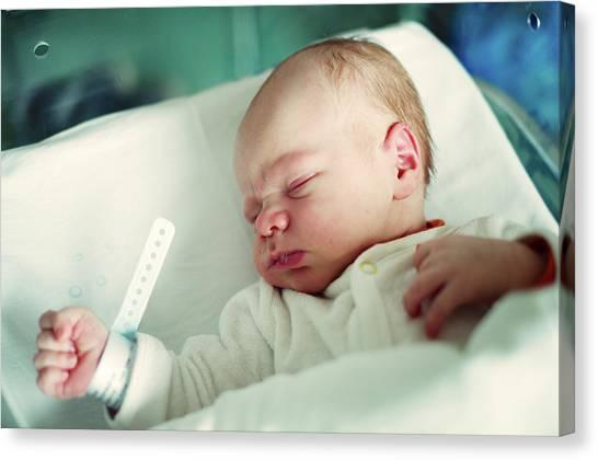 Newborn Boy. First Day Canvas Print by Aleksandr Morozov