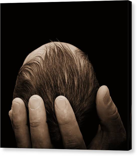 Newborn In Hand Of His Father Canvas Print