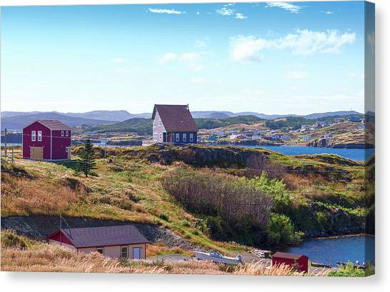 Newfoundland And Labrador Canvas Print - Newfoundland Homes Near Port Union by Panoramic Images