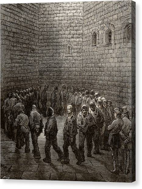 Signature Canvas Print - Newgate Prison Exercise Yard by Gustave Dore
