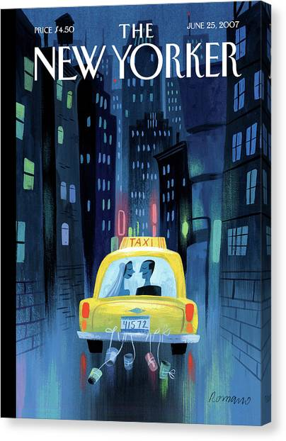 Bride Canvas Print - Newlywed Couple In A Taxi by Lou Romano