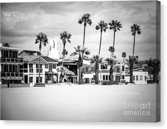 Newport Canvas Print - Newport Beach Oceanfront Homes Black And White Picture by Paul Velgos