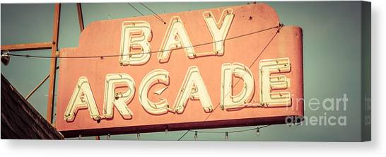 Newport Beach Panoramic Retro Photo Of Bay Arcade Sign Canvas Print by Paul Velgos