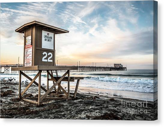 Lifeguard Canvas Print - Newport Beach Pier And Lifeguard Tower 22 Photo by Paul Velgos