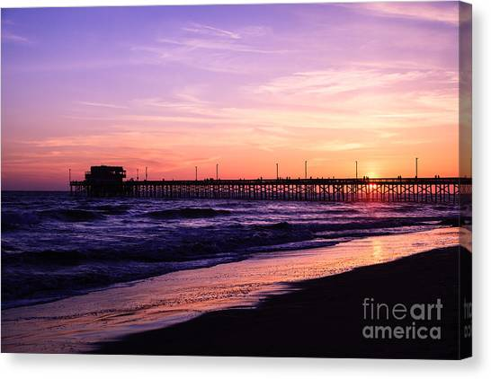 Newport Canvas Print - Newport Beach Pier Sunset In Orange County California by Paul Velgos