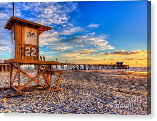 Ocean Sunsets Canvas Print - Newport Beach Pier - Wintertime  by Jim Carrell