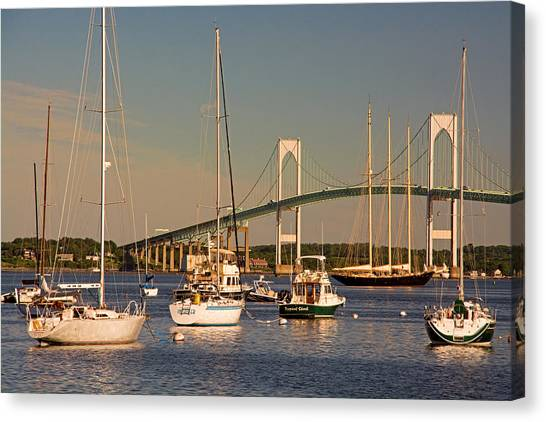 Newport Harbor With Pell Bridge Canvas Print