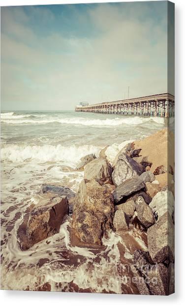 Southern Rock Canvas Print - Newport Pier Rocks Retro Photo by Paul Velgos