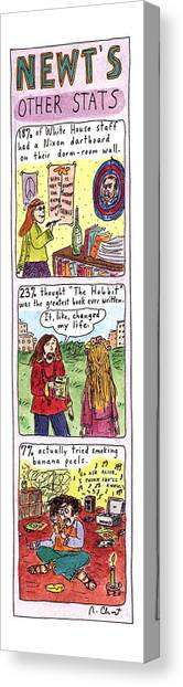 Newts Canvas Print - Newt's Other Stats by Roz Chast