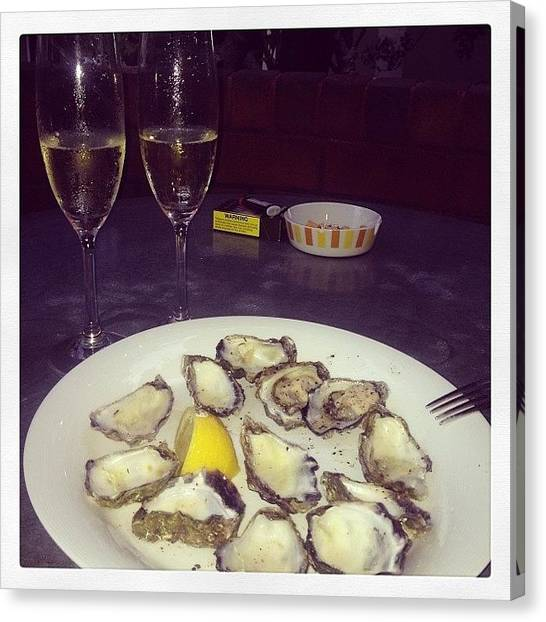 Oysters Canvas Print - #newyearseve #newyear #food by Robert Hutchison