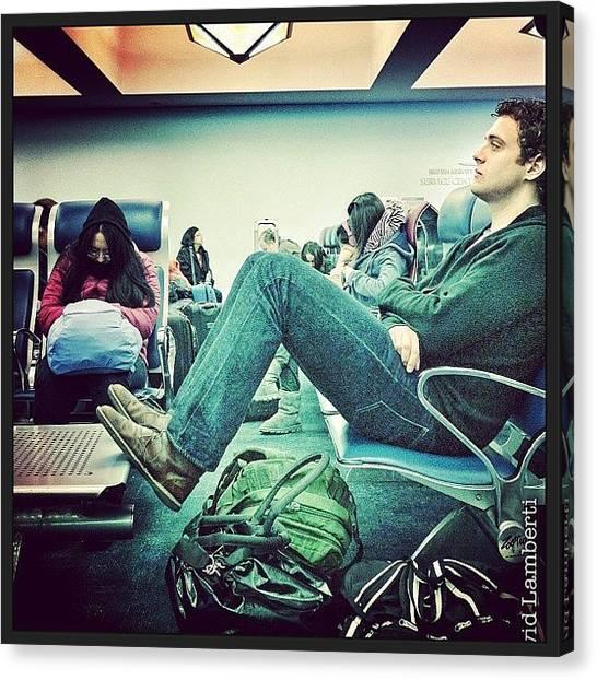 Lounge Canvas Print - #newyork #nyc #city #airport #waiting by David Lamberti