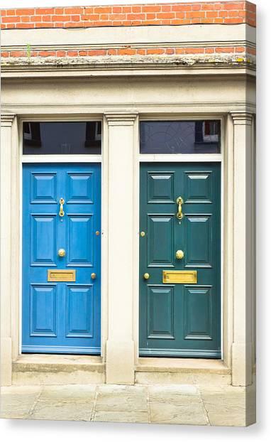 Brick Sidewalk Canvas Print - Next Door Neighbours by Tom Gowanlock