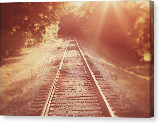 Trains Canvas Print - Next Stop Home by Amy Tyler